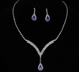 Wholesale Evening Accessories - Luxury sparkly V Shaped Jewelry Sets for Wedding Prom Evening Cocktail Bridal Accessories rhinestone crystal pendant necklace earrings set