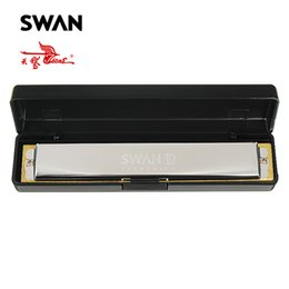 Wholesale Musical Instrument Accordion - Swan Harmonicas 24 Holes Copper Board Octave Harmonica Performance Harps Musical Instruments Woodwind Accordions In Plastic Box