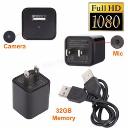 Wholesale Ac Adapter Camcorder - 1080P AC Adapter Spy Camera Charger Hidden Camcorder No Hole 8GB 16GB 32GB Full HD Wall Charger Video Recorder Motion Detection Plug Cam