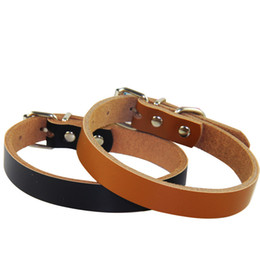 Wholesale hot dog collars - Hot sale Dog accessories Real Cowhide Leather Dog Collars 2 colors 4 sizes Wholesale Free shipping
