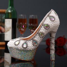 Wholesale Diamond White Wedding Shoes - Luxury Bright White Pearl Diamond Wedding Shoes Bride Sexy 14cm High-Heeled Pumps Round Toe Handmade Shoes Fashion Rhinestone Shoes