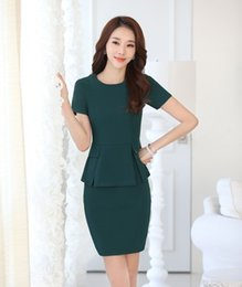 Wholesale Ladies Short Skirt Suits - Wholesale-Summer Fahion 2 Piece Set Women Business Suits with Two Piece Skirt and Top Twinset Ladies Office Uniform Style OL