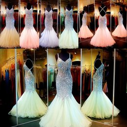 Wholesale Colorful Mermaid Pageant Dresses - New Bling Bling Mermaid Prom Dresses 2016 Spaghetti Crystal Major Beading Backless Colorful Red Carpet Evening Party Pageant Gowns For Woman