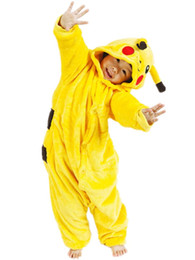 Wholesale Pajamas Teenage - Anime Poke Pikachu Jumpsuit Cosplay Onesie Children Kids Flannel Animal Pajamas Anime Cartoon Costumes Sleepwear