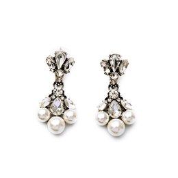 Wholesale Silver Teardrop Pearl Earrings - 2016 Pearl Bubble Chandelier Earrings Symmetric Crystal Teardrop Floral Earring Vintage Silver for Lady Free Shipping