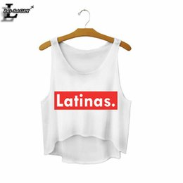 "Wholesale Wholesale Fitness Clothing Women - Wholesale-2016 ""Latinas."" Summer Style Sexy Crop Top Cropped Fashion Mujer Fitness Women Comfortable Tank Tops Cheap Clothes China F671"