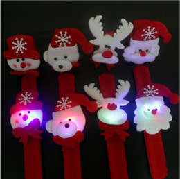 Wholesale red slap bracelets - Christmas Slap Bracelets Christmas Gift Xmas Santa Claus Snowman Toy Slap Pat With LED Light Circle Bracelet Wristhand Decoration Ornament