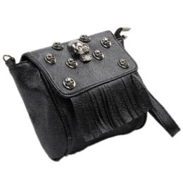 Wholesale Skull Design Bags - 2016 Retro Rivet design Skull Sequined Shoulder Bags Vintage Punk Multifunctional Black Tassel Hasp Mini Bags RD642312