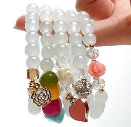 Wholesale Gold Lucky Charm Bracelet - Jewelry Natural Onyx Garnet Bracelets Semi-Precious Stone Crystal Beads Bracelet Hello Kitty Flower Lucky Charm Bracelets women men