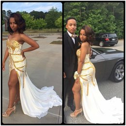 Wholesale Bal Gowns - Prom Dresses High Slit Mermaid Gown For Party robe bal de Prom 2017 vestidos cortos de gala White And Gold Beaded