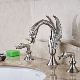 Wholesale Swan Faucet Crystal Handles - Nickel Brushed Bathroom Swan Faucet Crystal Handles Vanity Sink Mixer Tap