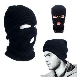 Wholesale Baseball Full Cap Hat - 2017 New Full Face Cover Mask Three 3 Hole Balaclava Knit Hat Winter Stretch Snow Mask Beanie Hat Cap Black Warm Face Masks