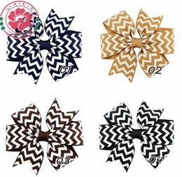 Wholesale Stripes Grosgrain Ribbons - Baby Girls Hair Clips Chevron stripes Grosgrain Ribbon Bows Kids Boutique Big Bowknot Hairpins Toddler Barrette Childrens Hair Accessories