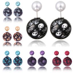 Wholesale Double Skull Earring - Vintage Boucle D'oreille Aros Printing Skull Pearl Spherical Skull Shambhala Earings Fashion Jewelry Small Double Stud Earrings