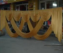 Wholesale Table Swag Decorations - 2016 New Design Luxurious Decoration Golden Wedding Swag Wedding drape Wedding decoration Backdrop 3*6M for
