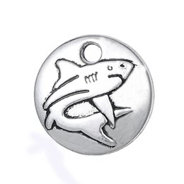 Wholesale Sivler Charms - Free shipping 12*12mm Tiny Shark Charm Antique Sivler Ocean Pendant Eco Friendly Nautical Nature Jewelry 10pcs jewelry making