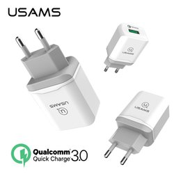 Wholesale Iphone Compatible Charger - USAMS Fast USB Phone Charger Qualcomm 18W EU Plug Quick Charge 3.0 for Samsung Xiaomi Compatible 2.0 Fast Wall Charger