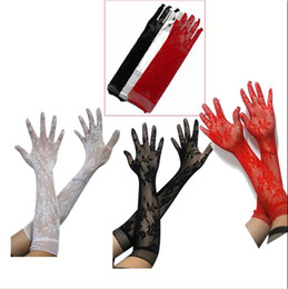 Wholesale long black lace fingerless gloves - Wholesale- Sexy BF4U Stretch Lace Gloves - Opear  Length Women Long Black White Red