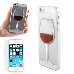 Wholesale Cups Cover Glass - 3D Liquid Quicksand wine cup bottle glass cocktail bottle Phone Cover Case For IPhone 5 5s New