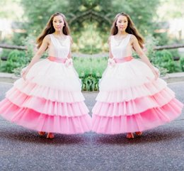 Wholesale Grils Ball - Gorgeous White And Pink 4 Layers Flower Girl Dresses For Wedding Crew Sleeveless Tiered Grils Pageant Gowns With Handmade Flower Ribbon Sash
