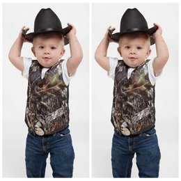 Wholesale Kids Suit Models - 2016 Custom Camo Boy's Formal Wear Camouflage Real Tree Satin Vest Cheap Sale Only Vest For Wedding Kids Boy Formal Wear