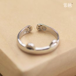 Wholesale Cute Finger Ring - Creative S925 Silver Female Cute Cat Ring Opening Index Finger Tail Ring Korea Original Personalized Gift Silverware