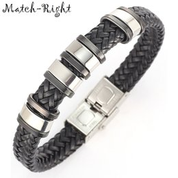 Wholesale Metal Wristbands For Men - Wholesale- Match-Right Men's Leather Bracelets Metal Bracelet Cuff for Men Stainless Steel Bracelets Bangles Men's Wristband BR007