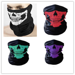 Wholesale Scary Skeleton - Hot Halloween Scary Mask Festival Skull Masks Skeleton Outdoor Motorcycle Bicycle Multi Masks Scarf Half Face Mask Cap Neck Ghost