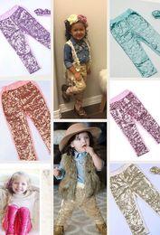 Wholesale Pink Toddler Pants - Baby Girls Leggings children bling bling sequins pants Autumn New children Bottoms Toddler Girl Glitter Leggings Birthday Present A00029