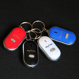 Wholesale Security Lost - Anti-Lost Finder Sensor Alarm Whistle Key Finder LED With Batteries Safely Security Keychain Whistle Sound LED Light High Quality