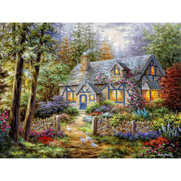 Wholesale Painting Living Room Sale - HWI-152 Hot Sale home decor Diy Diamond Painting Embroidery Country cottage Mosaic wall art Drawing Fashion gift 40X30CM