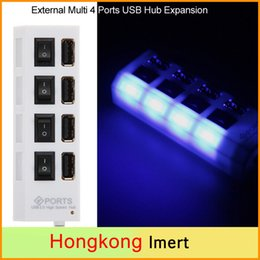 Wholesale Usb Expansion Splitter - External 4 Ports USB 2.0 Multi Hubs Expansion On Off Switch LED Splitter USB Hubs in CE Certicification