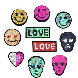 Wholesale sew embroidery patches - 10PCS Reversible Change Color Sequin Patches for Clothing Jacket Iron on Transfer Applique Patch for Jeans Bags DIY Sew on Embroidery