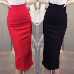 ladies high waist pencil skirts Promo Codes - Hot Sale Ladies Skirt OL Women Slim Fitted Knee Length High Waist Straight Career Pencil Skirts Plus Size S-5XL
