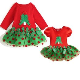 Wholesale Bud Net - 5pcs lot Baby Girls Christmas Dresses Christmas tree Appliqued + Dot Print net yarn Skirt Stitching dress long and short sleeve