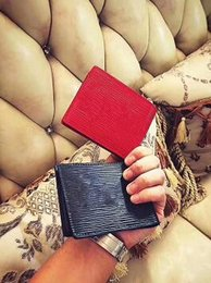 Wholesale Paris Cards - With logo Paris Premium Red Leather Slender Wallet X Red Wallet 17ss 45 Genuine Leather Outdoor Sport Bag