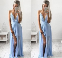 Wholesale Baby Sleeveless Jacket - Sexy Deep V-neck Baby Blue Prom Dresses 2017 Chiffon Spaghetti Straps V Neck Side Split Evening Gowns Cheap Maxi Bridesmaid Party Dresses