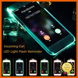 Wholesale iphone flash skin - LED Flash Light UP Remind Incoming Call Cover Case Skin for Samsung Galaxy S6 S7 Edge Note7 iPhone 7 Plus J1 J3 J5