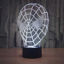 Wholesale Color Changing Table Lamps - Free Shipping Color changing 3D Spider Man Mask Acrylic LED Night Light with USB power multicolor table Lamp of 3D LEDS