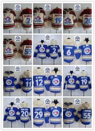 Wholesale Toronto 19 - Stitched Toronto Blue Jay Hoody #11 Pillar #20 Donaldson 19 Bautista 6 Stroman 2 Tulowitzki 55 Martin hockey Blue Cream Jersey Mix Order