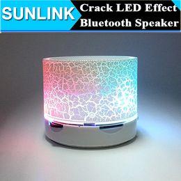 Wholesale bluetooth s11 - 100pcs Crack Effect LED Light Mini Bluetooth Speaker Handsfree Mic Portable Wireless Audio Soundbox support TF USB FM VS S10 S09 S11 A7