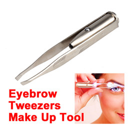 Wholesale made led - Hot Sale Make Up Led Light Hair Eyebrow Tweezers Eyelash Face hair Removal Remove Stainless Steel Eyebrow Tweezers Tools free shipping