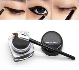 Wholesale Eye Shadow Gels - New Arrivals Beauty Waterproof Eyeliner Shadow Gel Eye Liner Makeup Cosmetic + Brush Black