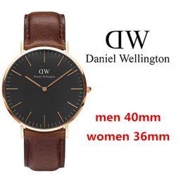 Wholesale Thin Brown Leather Belt - 2017 Top Quality Fashion Brand Men Women Genuine leather quartz watch waterproof ultra-thin casual business DW watch unisex