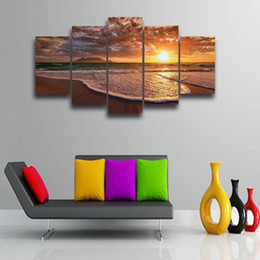 Paisaje obras de arte playas online-5 Paneles Set Impreso Beach Sunset Seascape Imagen Modular Paisaje Moderno Lienzo de Pintura para Wall Art Decor HD Prints Artwork