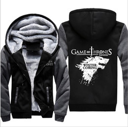 Wholesale Men Casual Zip Up Hoodie - Game of Thrones House of Stark Graphic Super Warm Thicken Fleece Zip Up Hoodie Men's Coat Black