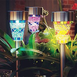 Wholesale Solar Lighted Garden Stakes - Solar Powered Lamp Solar Mosaic Border Garden Post Lights Garden Decoration Stake Light Solar Led Light Pathway Lawn Light Christmas Gifts