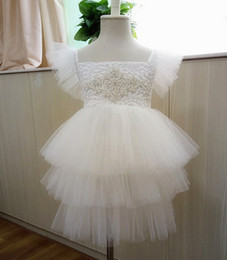 Wholesale Diamond Ball Dresses - Girls party dress new children diamond belt lace gauze fly sleeve tulle tutu dresses girls tiered tulle cake dress kids princess dress A9043