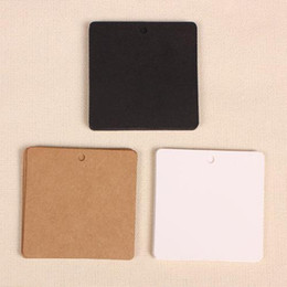 Wholesale Wholesale Blank Bookmarks - 50Pcs Lot 6*6cm Square Kraft Paper DIY Card Tag Handmade Blank Paper Tag Party Wedding Gift Jewelry Bookmark Greeting Hang Label
