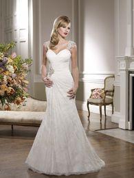 Wholesale Ronald Joyce Wedding Dresses - Lace Mermaid Wedding Dress With Beading Cap Sleeves Sweetheart Neckline Ruched 67059 Ronald Joyce Bridal Gowns